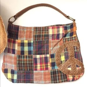 Boho patchwork hobo bag with peace sign